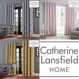 Catherine Lansfield Fully Lined Aztec Geometric Eyelet Curtains 3 Colour options