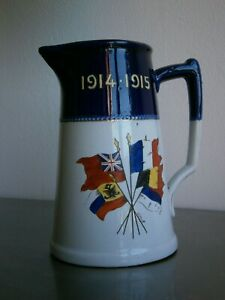 """PICHET COMMEMORATIF ANCIEN """"DRAPEAUX DES PAYS ALLIES"""" 1914-1915 WW1 SOUVENIR"""