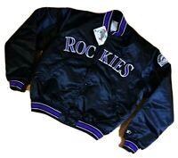Deadstock Vintage 90s STARTER Colorado Rockies Satin Bomber Jacket L MLB US made