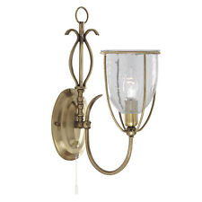 Searchlight 6351-1AB Silhouette Antique Brass Wall Light Clear Seeded Glass