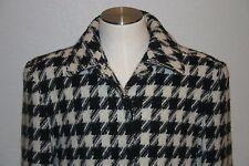 Pendleton Womens Wool Coat White Black Houndstooth sz 10 EUC
