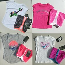 New listing Nike Girls 2T or 3T or 4T Summer Lined Dri-fit Shorts & Tops Pink Purple Smiley