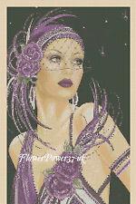 Cross stitch chart ART DECO LADY 9d Flowerpower 37-UK -. Gratuite au Royaume-Uni p&p
