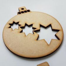 3 Stars Christmas balls Wooden Shape MDF Decoration Laser Cut Baubles gift