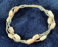 """Three Twisted Strands Of Pearls Bracelet 7 1/2"""" W/Magnetic Clasp"""