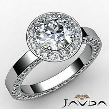 Round Diamond Engagement Ring GIA F VS2 Platinum 950 Halo Pave Set Ring 2.83ct