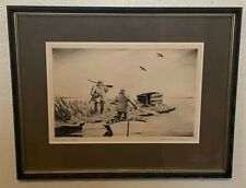 Original Churchill Ettinger Signed Sporting Art Duck Etching - The Old Story