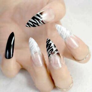 Long Stilleto Fake False press on Nails Glitter White black zebra animal print