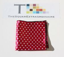 Men's Pink and White Satin Polka Dot with Black Trim Pocket Square