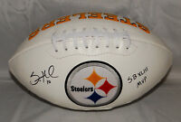 Santonio Holmes Autographed Pittsburgh Steelers Logo Football w/ SB MVP and JSA