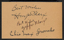 The Marx Brothers Autograph Reprint On Genuine Original Period 1930s 3x5 Card