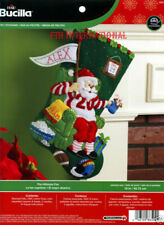 Bucilla Felt Christmas Stocking Kit Hb86504 The Ultimate Fan Santa Sports