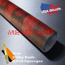 "*48""x108"" Red Brick Stone Textured Vinyl Background Wall Sticker Wallpaper KB14"