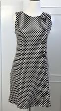 Tabitha Anthropologie Women's Shift Dress Sleeveless Black White Woven Size 4