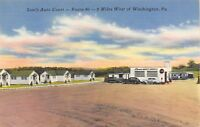 Washington Pennsylvania~Sam's Auto Court Motel~ANDCO Gas Station~1940s Linen