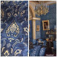 SALE! Designer Upholstery Chenille Velvet Fabric - Blue Gold
