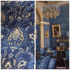 SWATCH Designer Upholstery Chenille Velvet Fabric - Blue Gold