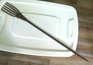 """Early Antique Primitive 5 Prong 30.5"""" Fish Eel Spear Wrought Iron Hand Forged FE"""