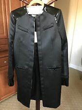 100% Auth NWT BALENCIAGA black satin & patent leather OPEN Coat Jacket F40