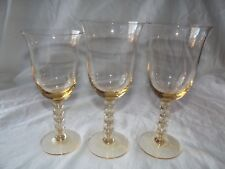 2 Water Goblets & 1 Wine Glass, Orrefors Erika Amber Yellow stacked ball stems