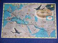 Vintage RARE 1948 TWA Trans World Airline Double Sided Route Map Europe S3850