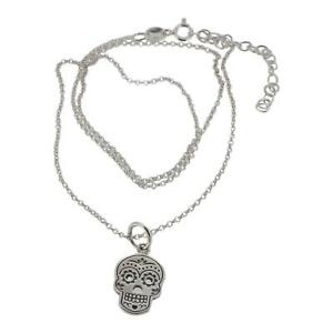 Sterling Silver Sugar Skull Design Pendant and Chain by Touch Jewellery - 925
