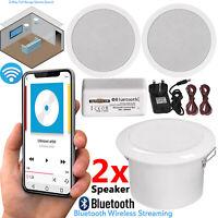 Pair Of Wireless Speakers Ceiling Bathroom Kitchen Bluetooth Amplifier 5 Inch UK