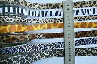 5 Velvet 1 Grosgrn 1 Satin ANIMAL PRINT Styles 16mmWide 2Metre Length MultiList