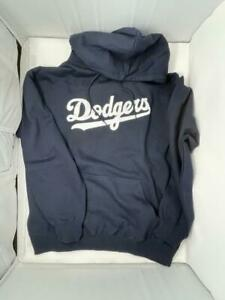 Los Angeles Dodgers Wordmark Hoodie Sweatshirt Navy Blue L Sweater Shirt LA