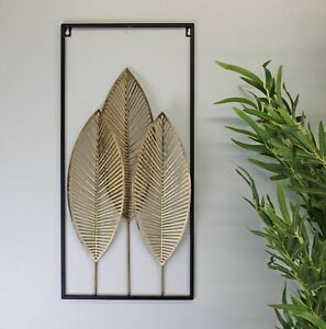 Three Gold Leaves Wall Art Hanging Metal Leaf Ornament Decor Home Office