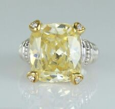 $1275 Judith Ripka Cushion Cut Canary Yellow Diamond Silver Cocktail Ring Size 5