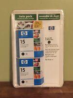 HP 15 Ink Cartridge Genuine Black Twin Pack Cartridges Sealed expired 01/2006