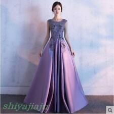 Gorgeous Lace Flower Purple Long Evening Dresses Formal Cocktail Party Prom Gown