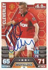 TOM CLEVERLEY SIGNED MAN UNITED 2013/2014 MATCH ATTAX CARD+COA