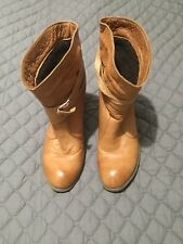 Camel Brown Boots Fur Lined real Soft Leather (vintage)size 39 Will Fit Size 40