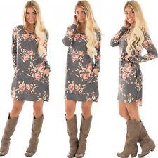 UK Womens Floral Long Sleeve Autumn Winter Casual Mini Shirt Dress Ladies Tops