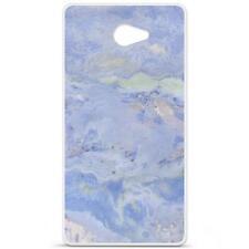 Coque Housse Etui Acer Liquid M220 Silicone Gel qualité française - Marbre bleu