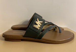 New - Women's Michael Kors Sidney Moss Leather Flat Sandals Size 8