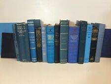 5 BLUE/SKY BLUE/NAVY old/vintage/antique Authentic Decorative Staging Books Lot