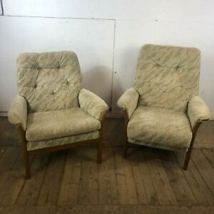 Pair of Vintage Green and Cream Teak Fire Side Armchairs inc 1 Recliner C0141