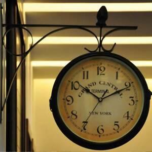 Outdoor Garden Paddington Station Wall Clock Double Sided Outside Bracket Retro