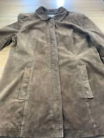 Cherokee Womens Suede Leather Coat 5 Full Zip Front Brown Jacket Size L