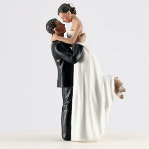 True Romance Medium Skin Tone Groom Lifting Bride Wedding Cake Topper