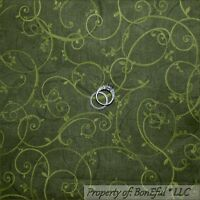 BonEful Fabric FQ Cotton Quilt Green L Scroll Swirl LEAF Holiday Xmas Flower Dot