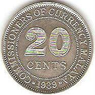 Offer> Malaya KGVl 20cents 1939 Silver coin high grade! lustre??