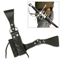 "8"" UNIVERSAL SWORD FROG Black Leather Sheath Scabbard Adjustable Baldric Belt"