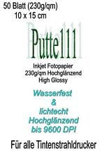 50 Blatt Fotopapier 230g/m² 10 x 15 Hochglanz  wasserfest Glossy