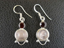 Drop Dangle Earrings Handcrafted India 001 Rose Quartz in Sterling Silver 925