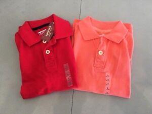 NEW! Lot of 2 ARIZONA Jeans Short Sleeve Polo Shirts, S (6-7) - Peach, Red