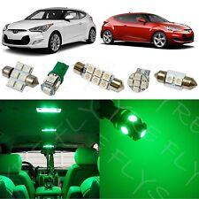 8x Green LED lights interior package kit for 2012-2017 Hyundai Veloster YV1G